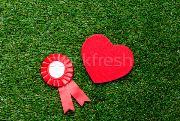 Little red winner award and heart shape gift on green summer gra Stock photo © Massonforstock
