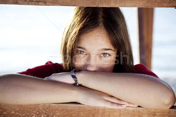 Portrait of beautiful brunet girl Stock photo © Massonforstock