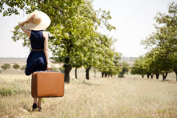 Lonely girl with suitcase at countryside. Stock photo © Massonforstock