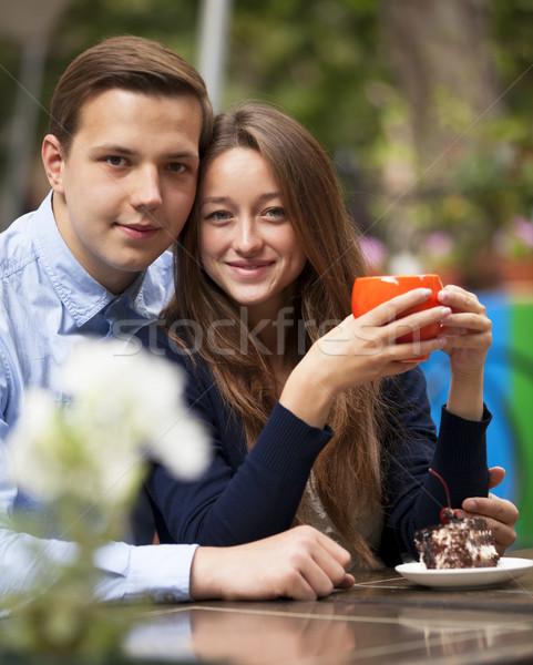 Stockfoto: Cafe · liefde · man · stad · groep