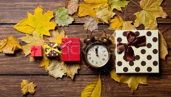 çalar saat hediyeler sarı sonbahar saat doğa Stok fotoğraf © Massonforstock
