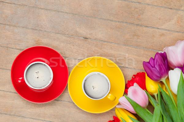 Foto café colorido tulipanes maravilloso Foto stock © Massonforstock