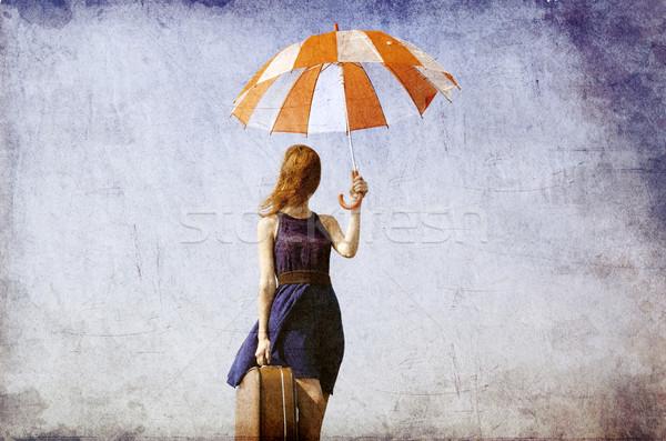 одиноко девушки чемодан зонтик фото старые Сток-фото © Massonforstock