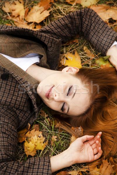 Stok fotoğraf: Portre · kız · sonbahar · park · açık · atış