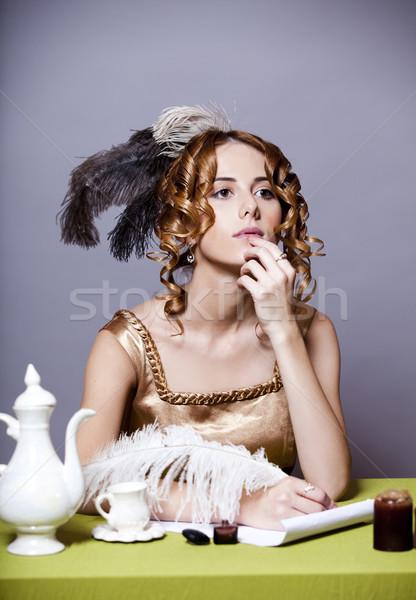 Сток-фото: девушки · Дать · письме · вечеринка · лице · пер