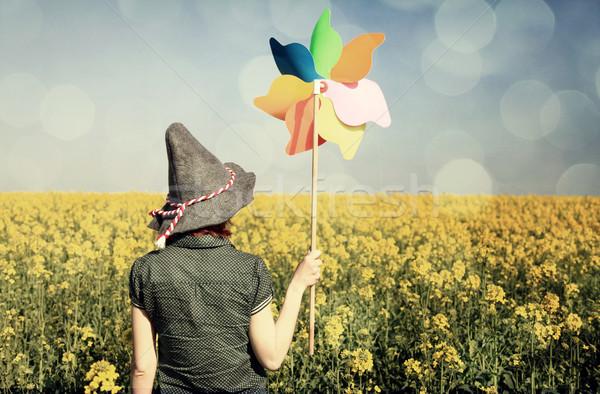 Lány szélturbina mező absztrakt természet tájkép Stock fotó © Massonforstock