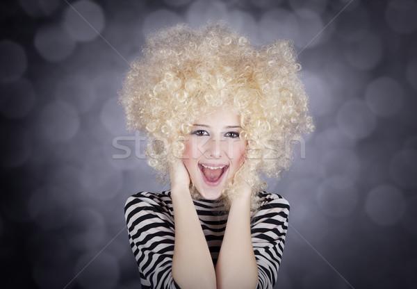 Porträt funny Mädchen Perücke Stock foto © Massonforstock