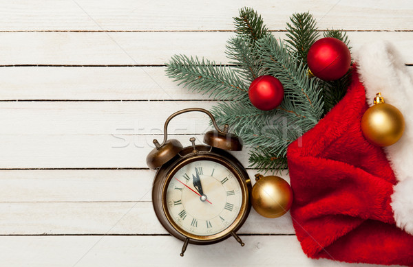 Alalrm-clock and Christmas baubles Stock photo © Massonforstock
