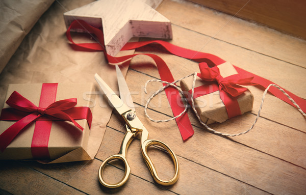 cute gifts, star shaped toy and things for wrapping on the wonde Stock photo © Massonforstock