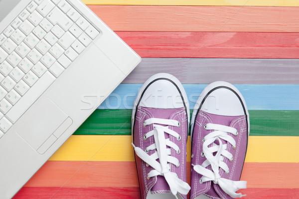 Stock fotó: Fotó · laptop · csodálatos · színes · pop · art · stílus