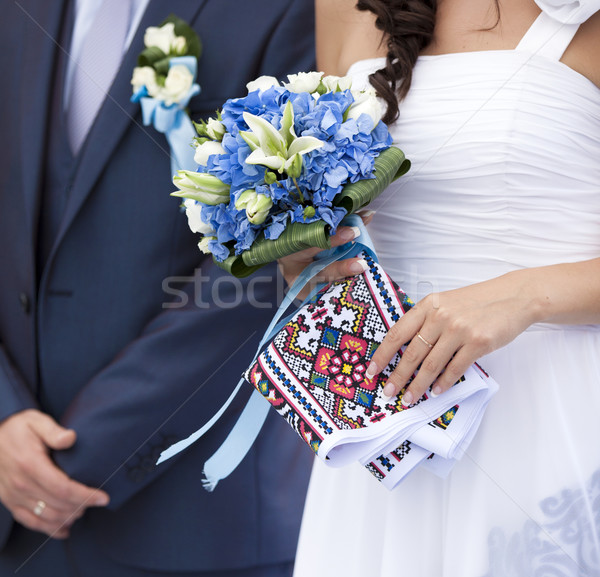 wedding couple with bouquet Stock photo © Massonforstock