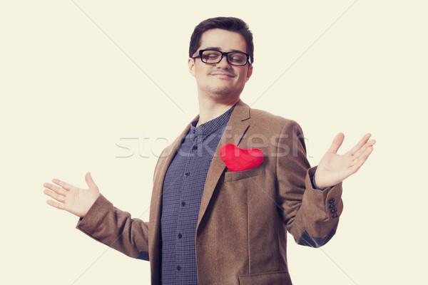 Portrait jeune homme forme de coeur heureux fond signe Photo stock © Massonforstock