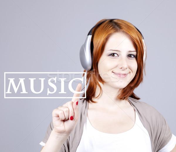 少女 現代 ヘッドホン 抽象的な 音楽 ストックフォト © Massonforstock