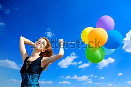 Stockfoto: Meisje · kleur · ballonnen · blauwe · hemel · partij