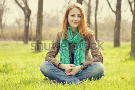 Portret meisje najaar park outdoor shot Stockfoto © Massonforstock