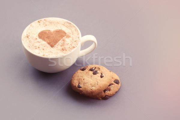 капучино пряничный Кубок формы сердца какао серый Сток-фото © Massonforstock