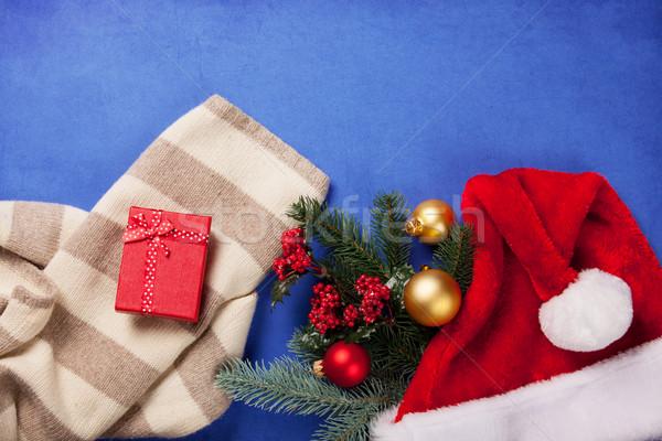 écharpe Noël cadeaux bleu arbre boîte Photo stock © Massonforstock