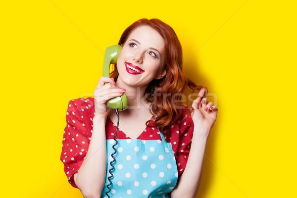 Bella retro telefono meraviglioso giallo Foto d'archivio © Massonforstock