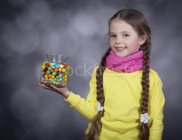 Photo stock: Petite · fille · gelée · bean · peu · bruit