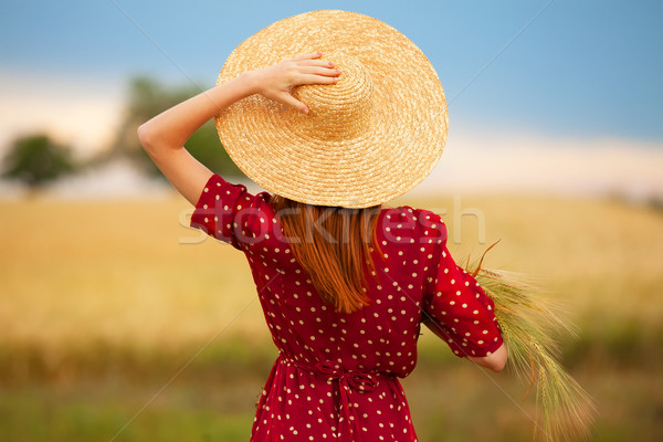 赤毛 少女 赤いドレス 麦畑 女性 自然 ストックフォト © Massonforstock