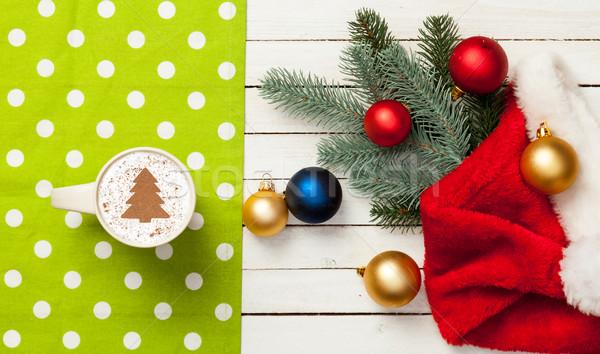 Csésze cappucchino karácsonyfa forma fa asztal kávé Stock fotó © Massonforstock