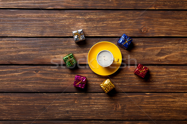 Сток-фото: подарки · Кубок · кофе · ретро · белый
