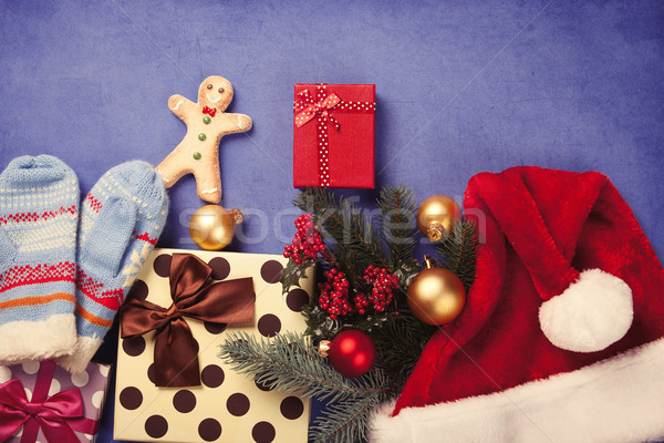 Gingerbread man natal presentes azul retro branco Foto stock © Massonforstock
