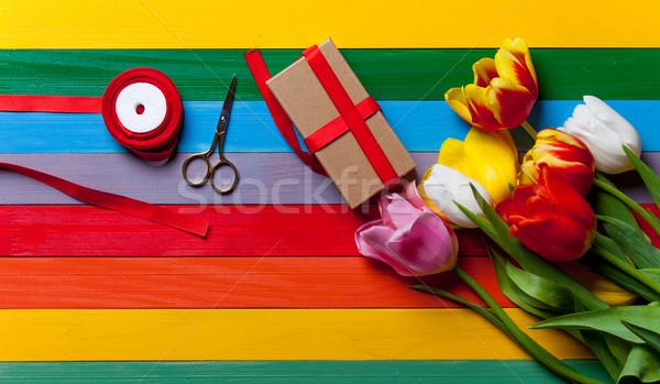 Tulipani regalo forbici Foto d'archivio © Massonforstock