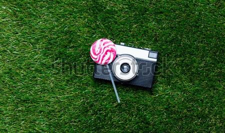 Kamera tok tavasz zöld fű fölött pont Stock fotó © Massonforstock