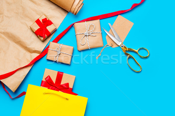 cool shopping bag, beautiful gifts and things for wrapping on th Stock photo © Massonforstock