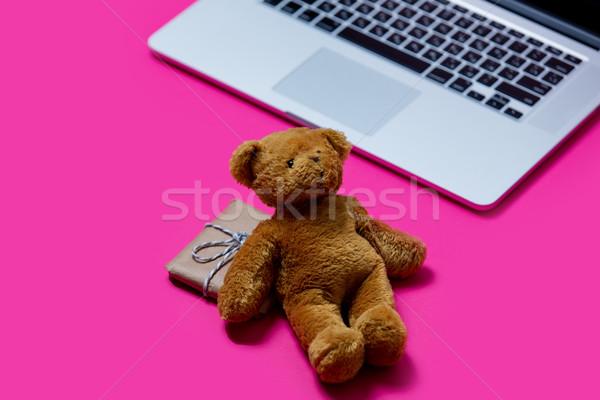 Güzel küçük hediye sevimli oyuncak ayı serin Stok fotoğraf © Massonforstock