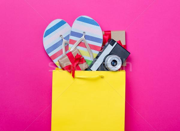 Cute prezenty kamery cool sandały torbę na zakupy Zdjęcia stock © Massonforstock