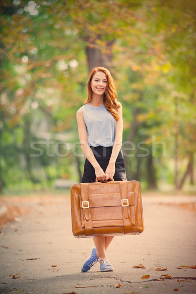 Foto belo mulher jovem mala maravilhoso outono Foto stock © Massonforstock