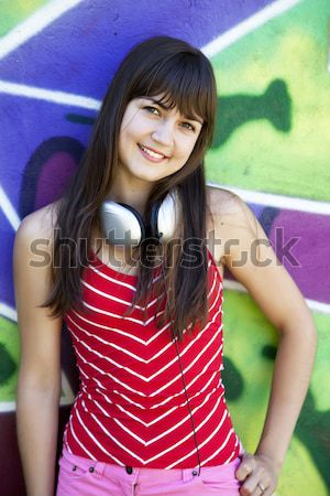Brunette girl show OK. Stock photo © Massonforstock