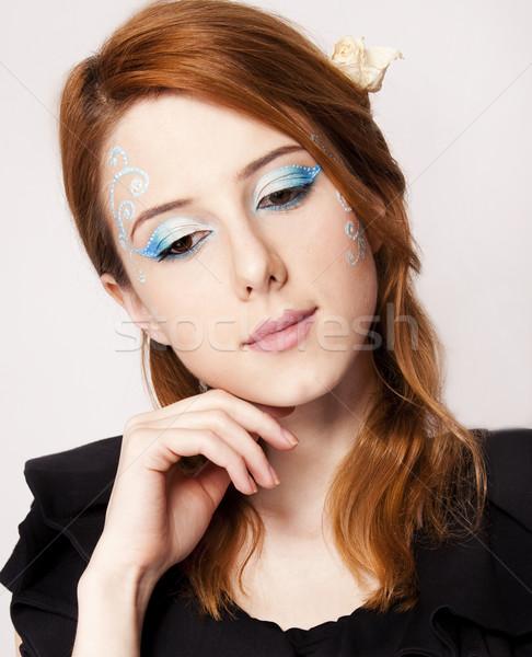 Portré gyönyörű vörös hajú nő lány stílus smink Stock fotó © Massonforstock