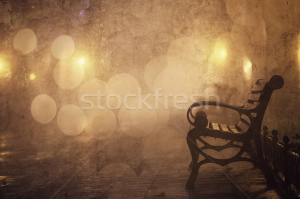 Bench in night alley with lights in Odessa, Ukraine. Photo in re Stock photo © Massonforstock