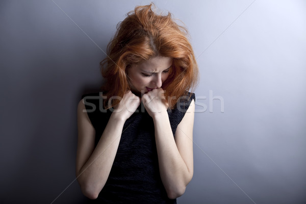 Portrait of sad girl in 80s style. Stock photo © Massonforstock