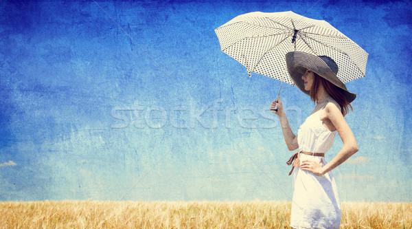 Stockfoto: Vrouwen · paraplu · foto · oude · retro-stijl