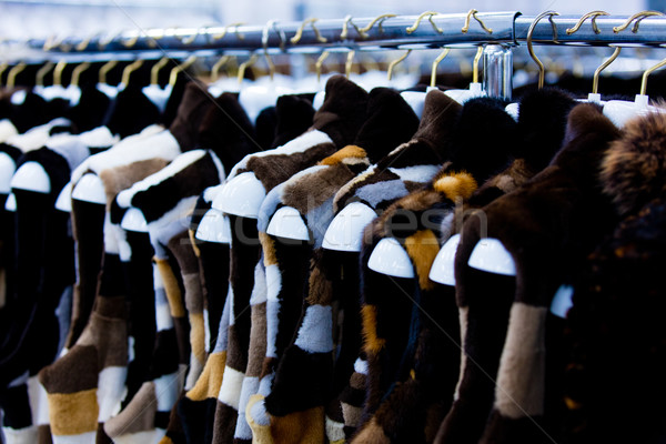 fur vests on the hangers Stock photo © Massonforstock