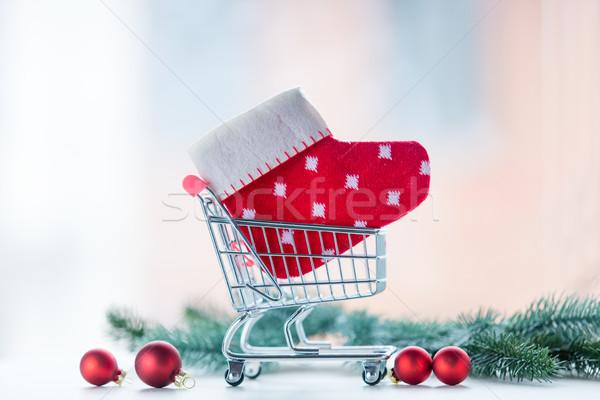 Christmas gift shopping cart Stock photo © Massonforstock