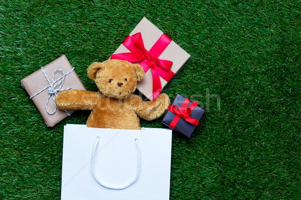 Bevásárlószatyor plüssmaci ajándékok fehér aranyos kicsi Stock fotó © Massonforstock