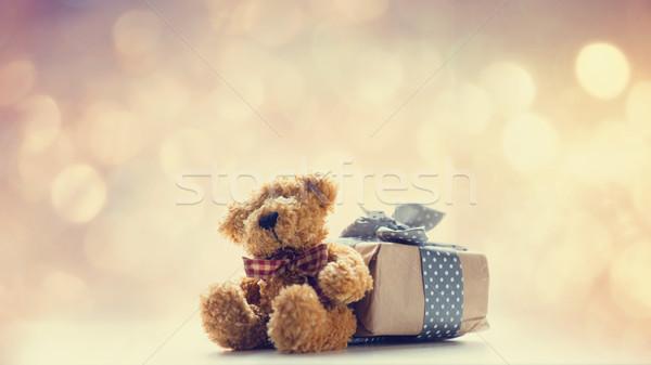 Cute Nounours belle cadeau fée lumières Photo stock © Massonforstock