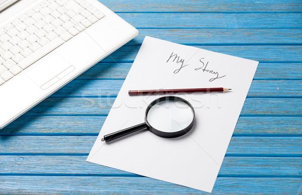 写真 紙 物語 虫眼鏡 ノートパソコン ストックフォト © Massonforstock