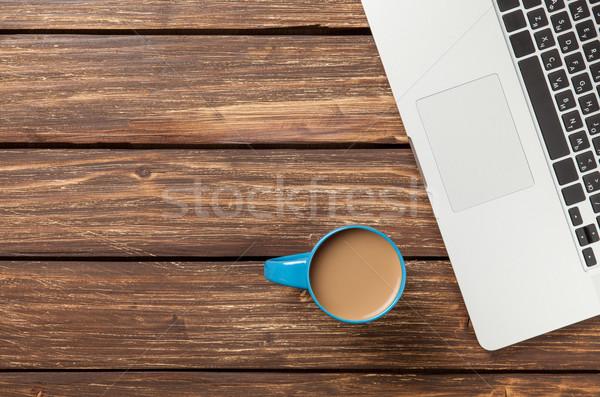 Kubek kawy laptop komputera laptop Zdjęcia stock © Massonforstock