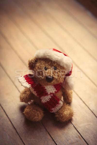 Cute osito de peluche papá noel sombrero maravilloso marrón Foto stock © Massonforstock