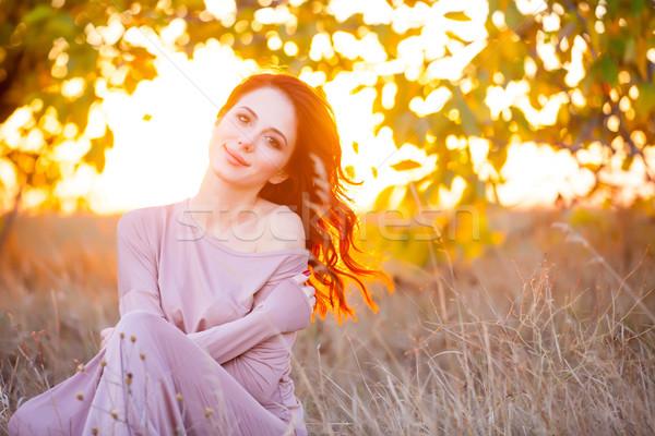 Gyönyörű fiatal nő fantasztikus ruha csodálatos fa Stock fotó © Massonforstock