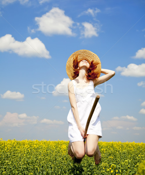 Redhead enchantress fly over spring rapeseed field at broom.  Stock photo © Massonforstock
