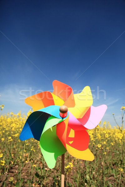 Toy wind turbine at rape fild. Stock photo © Massonforstock