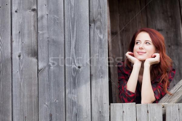 girl near a wooden wall. Stock photo © Massonforstock