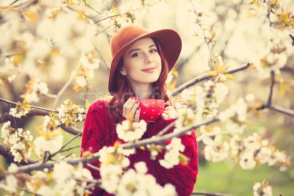Mujeres rojo suéter sombrero taza retrato Foto stock © Massonforstock